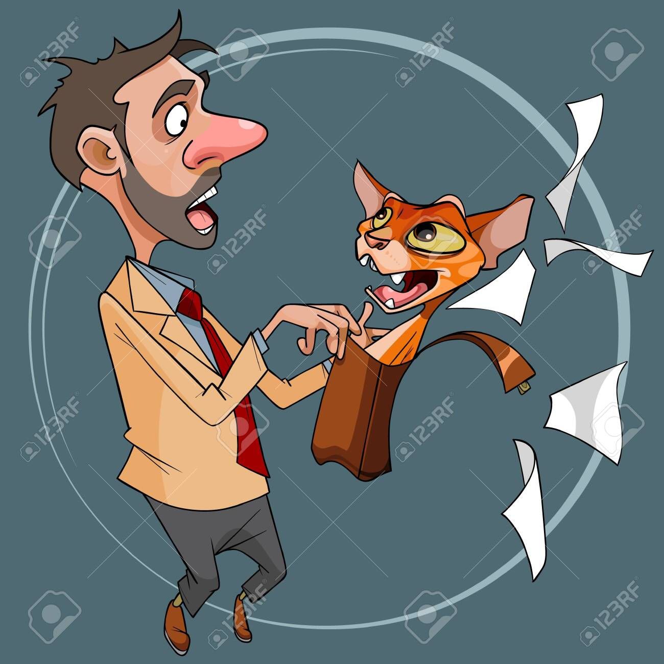 cartoon red cat got out of portfolio scaring a man - 147044097