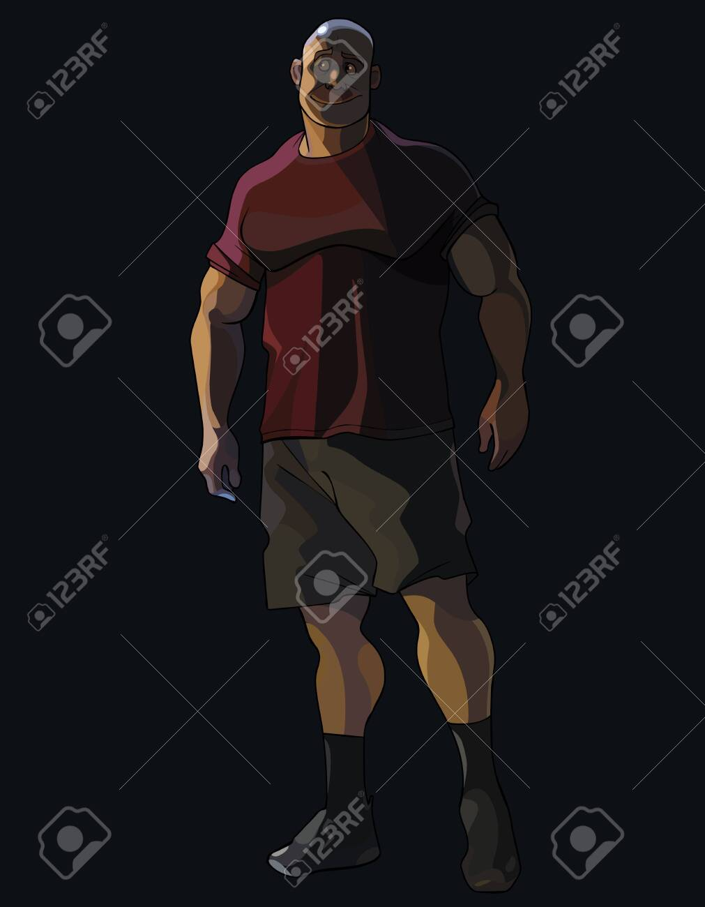 big cartoon smiling muscular man looks away while being in the dark - 149097158
