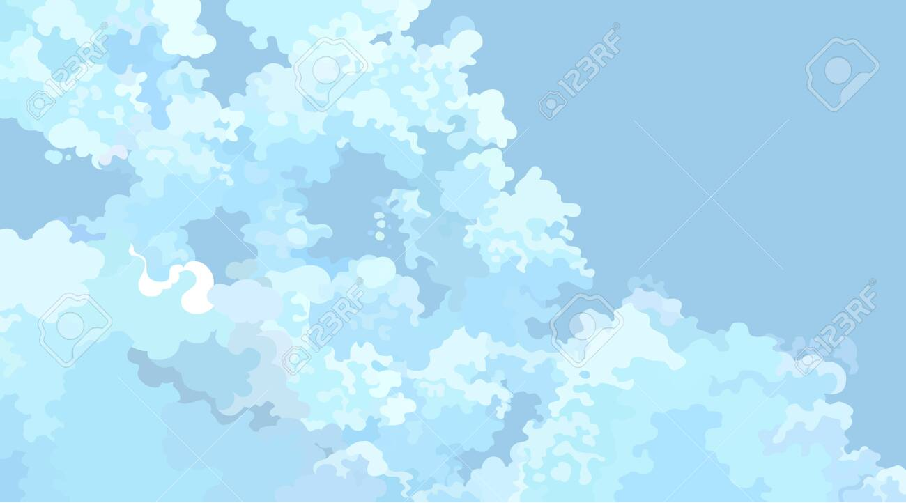 horizontal blue cartoon sky background with light clouds - 147917607
