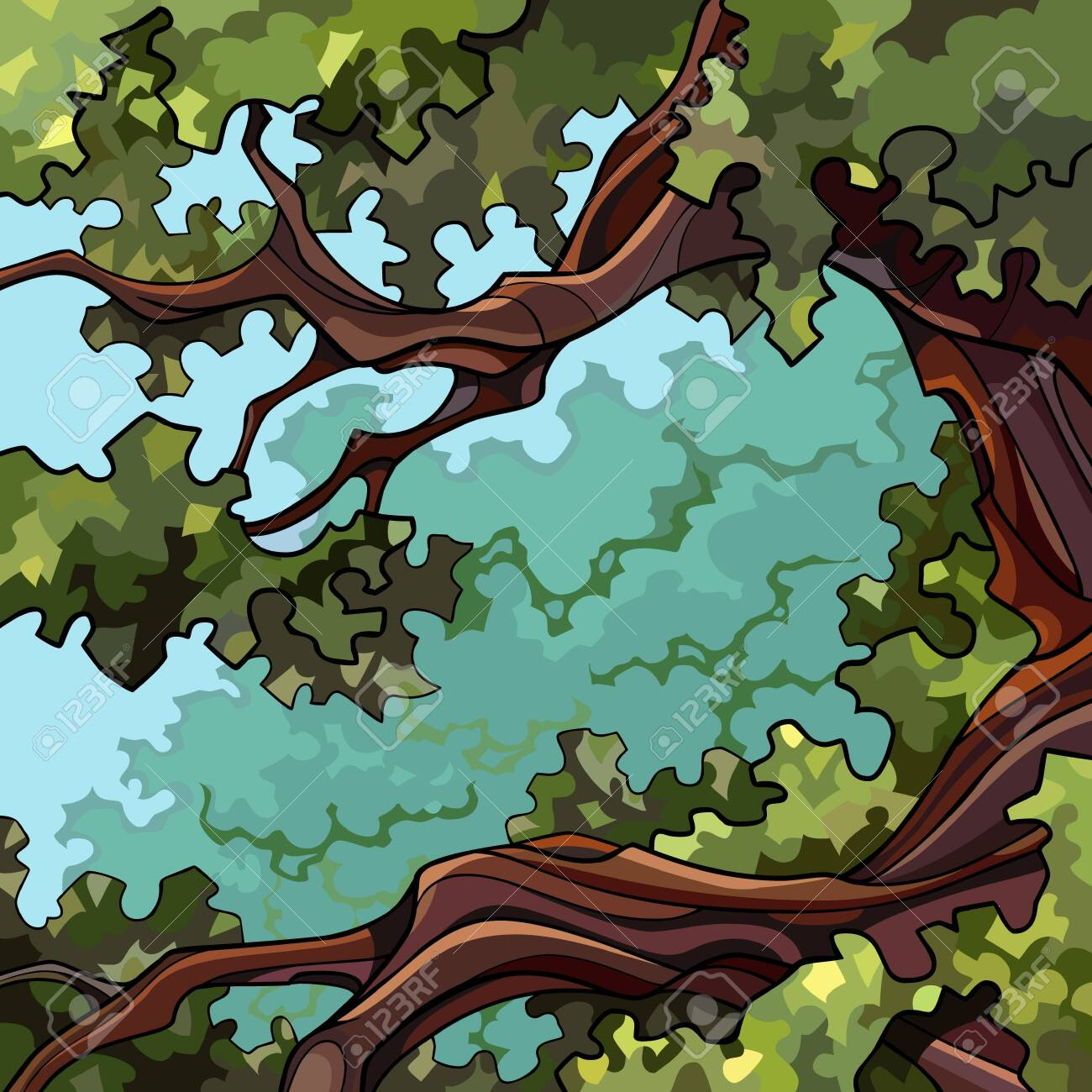 square summer green cartoon background on tall tree branches - 147917726