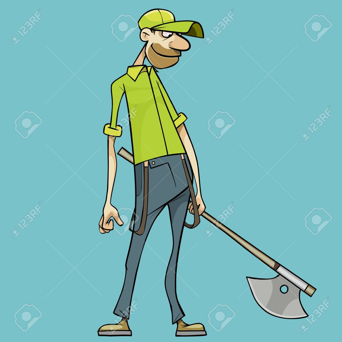 smiling cartoon man with ax in hand looks down - 148075756