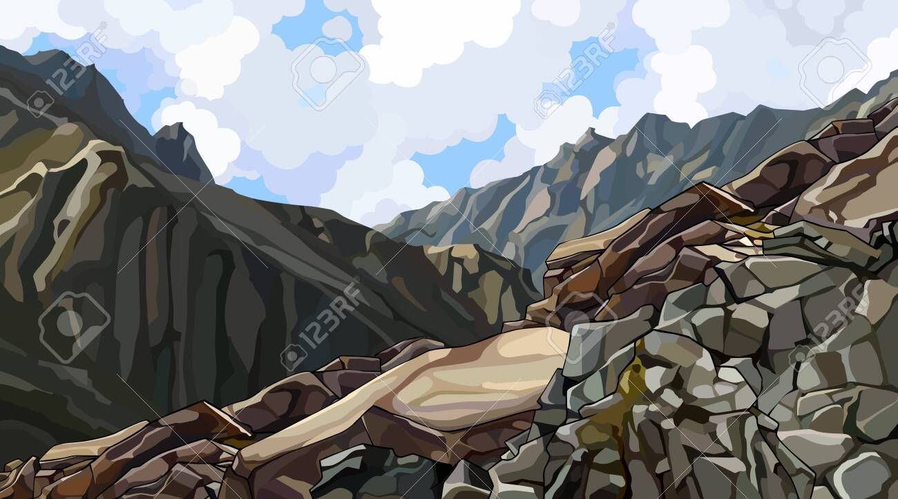 painted rocky slope at the top among the mountains. Vector image - 148360679