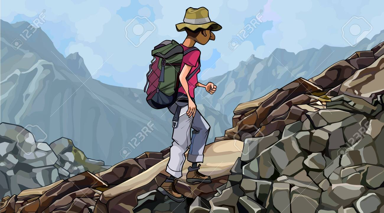 cartoon man tourist with backpack walks on a rocky slope - 148363684