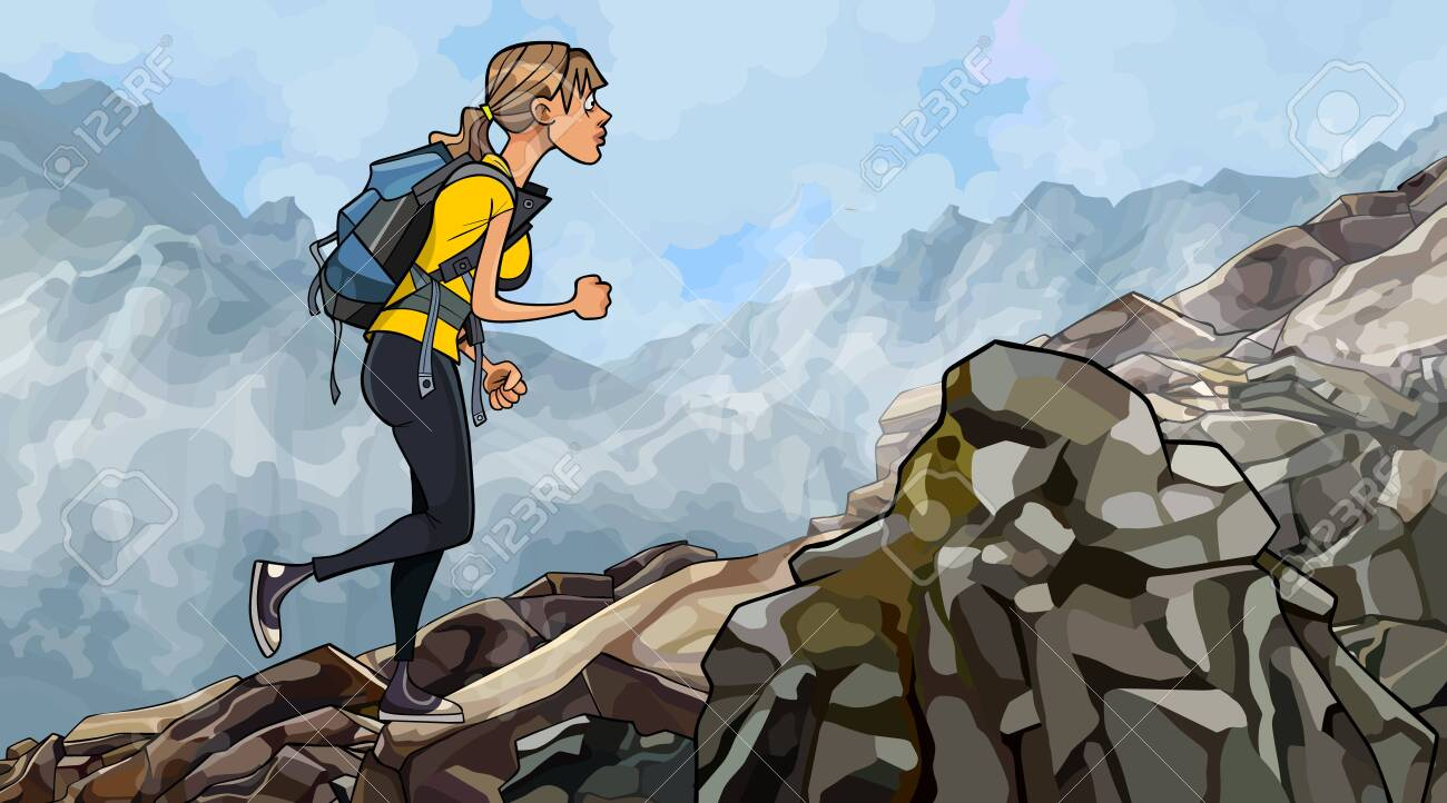 cartoon woman with a backpack climbs rocky slope in the fog - 148563289
