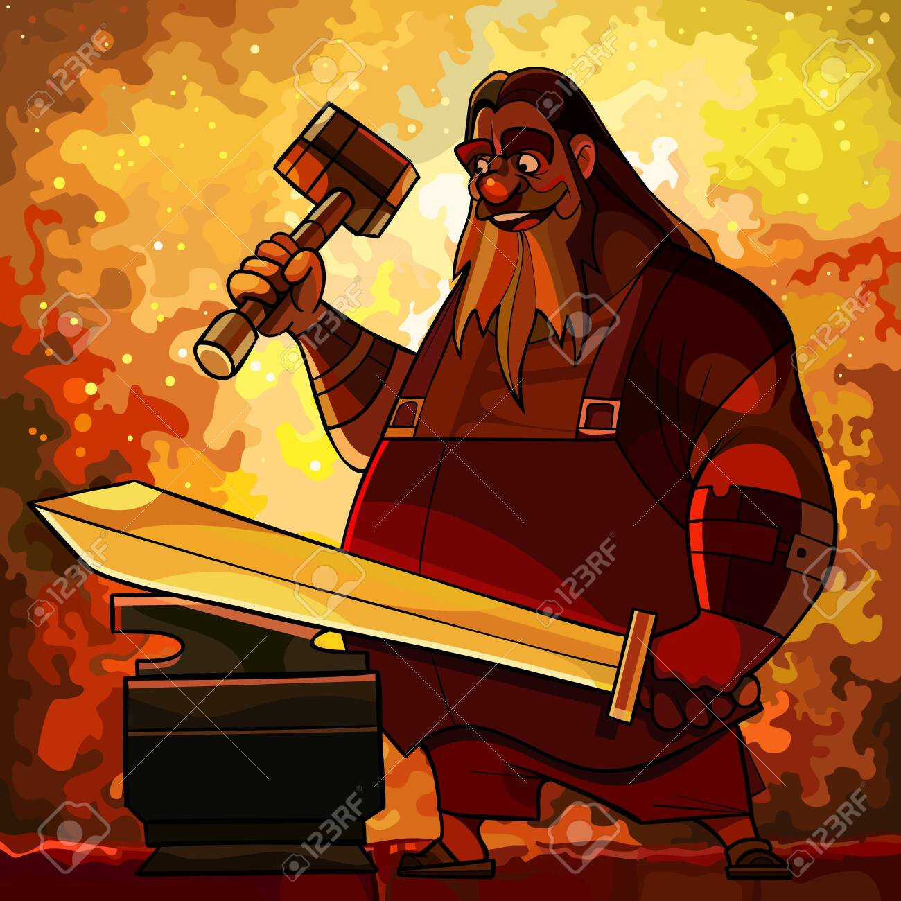 Cartoon bearded man blacksmith forges a sword in a fire forge. Vector image - 149942511