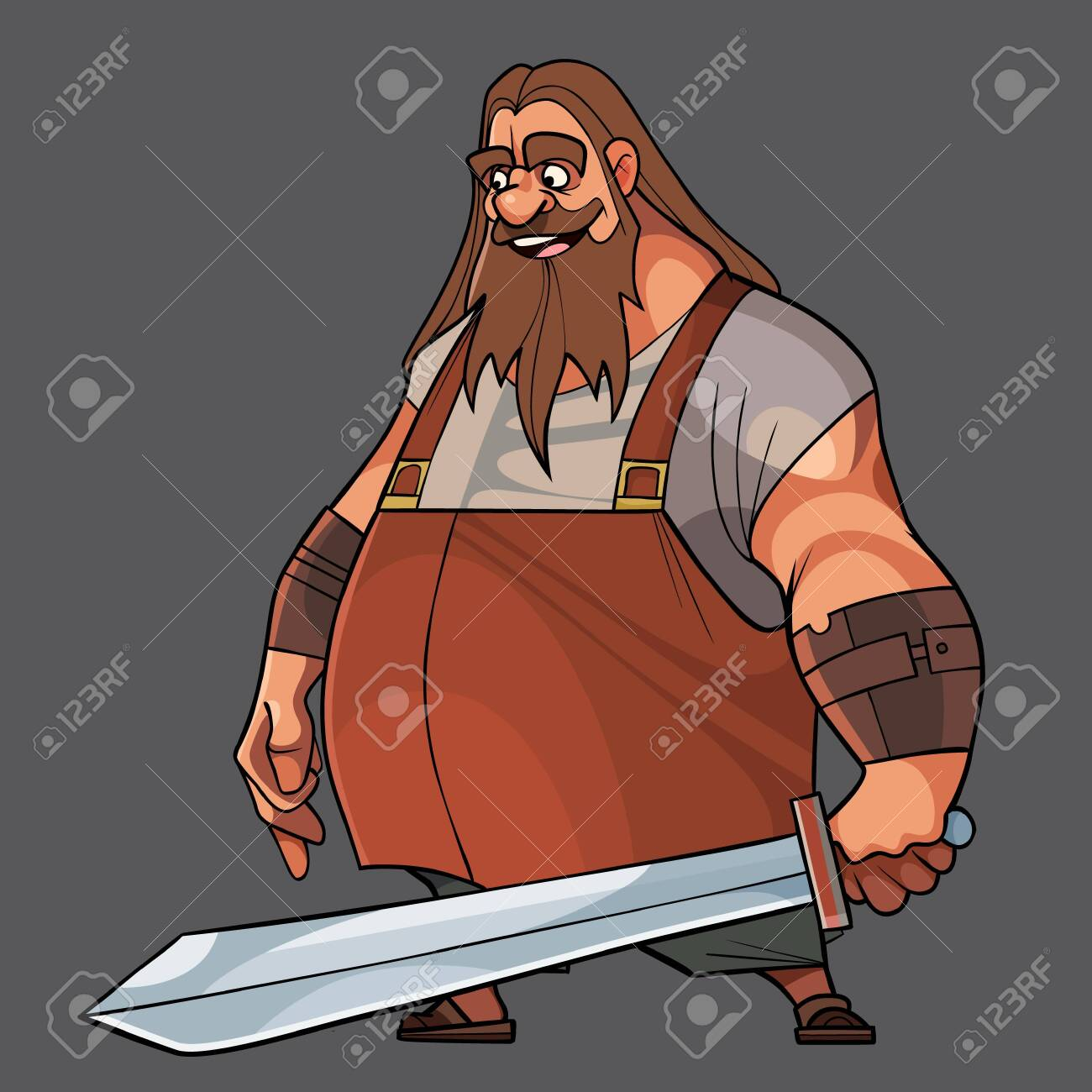 Cartoon bearded man standing with a sword in his hand. Vector image - 149942359