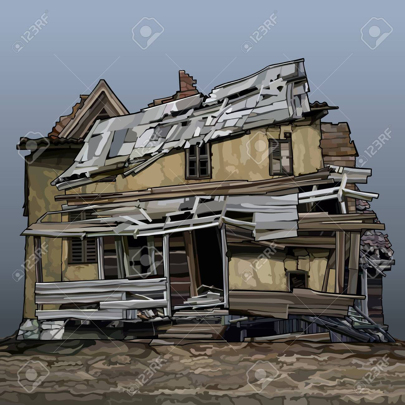 Cartoon old sprawled two story house stands on the ground. Vector image - 151015892
