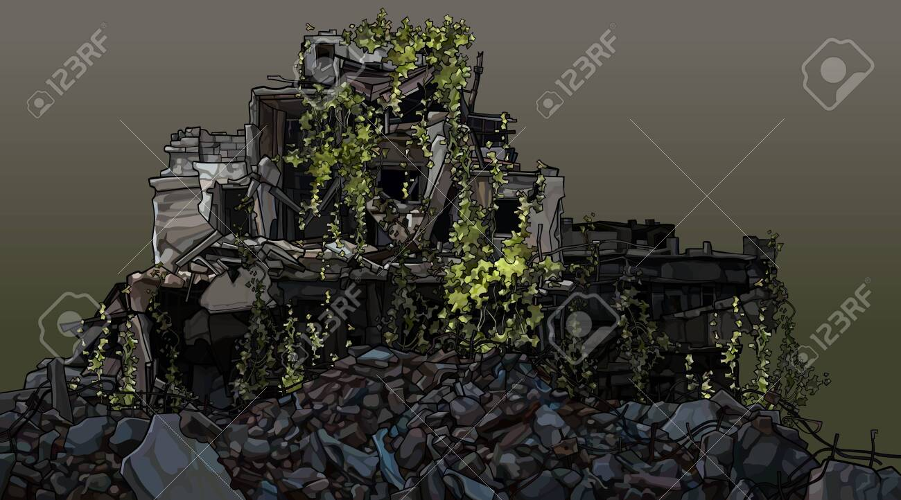 Dilapidated building overgrown with green plants in a pile of debris. Vector image - 151015895