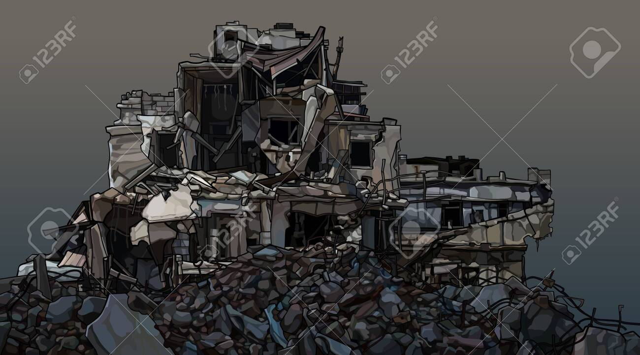 Dilapidated three story building in piles of destroyed bricks. Vector image - 151015896