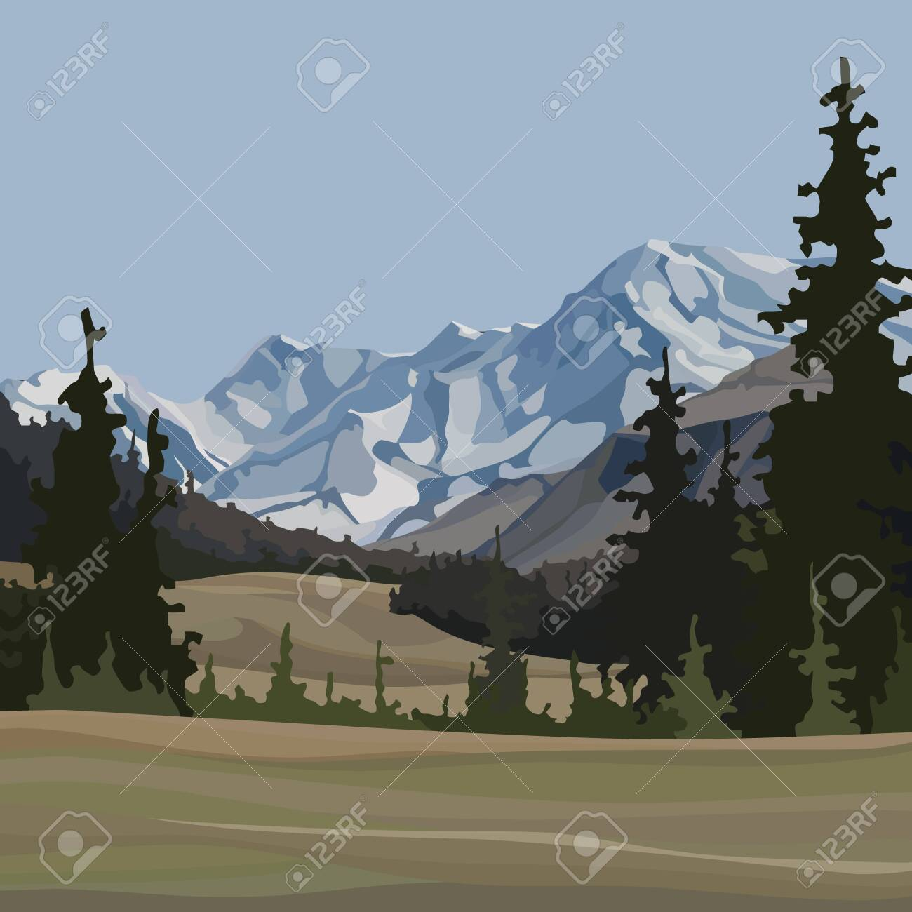 cartoon background of natural landscape with fir trees and snowy mountains - 151256766