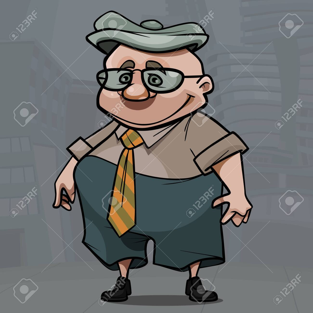 cartoon smiling elderly man with glasses and cap - 151256303
