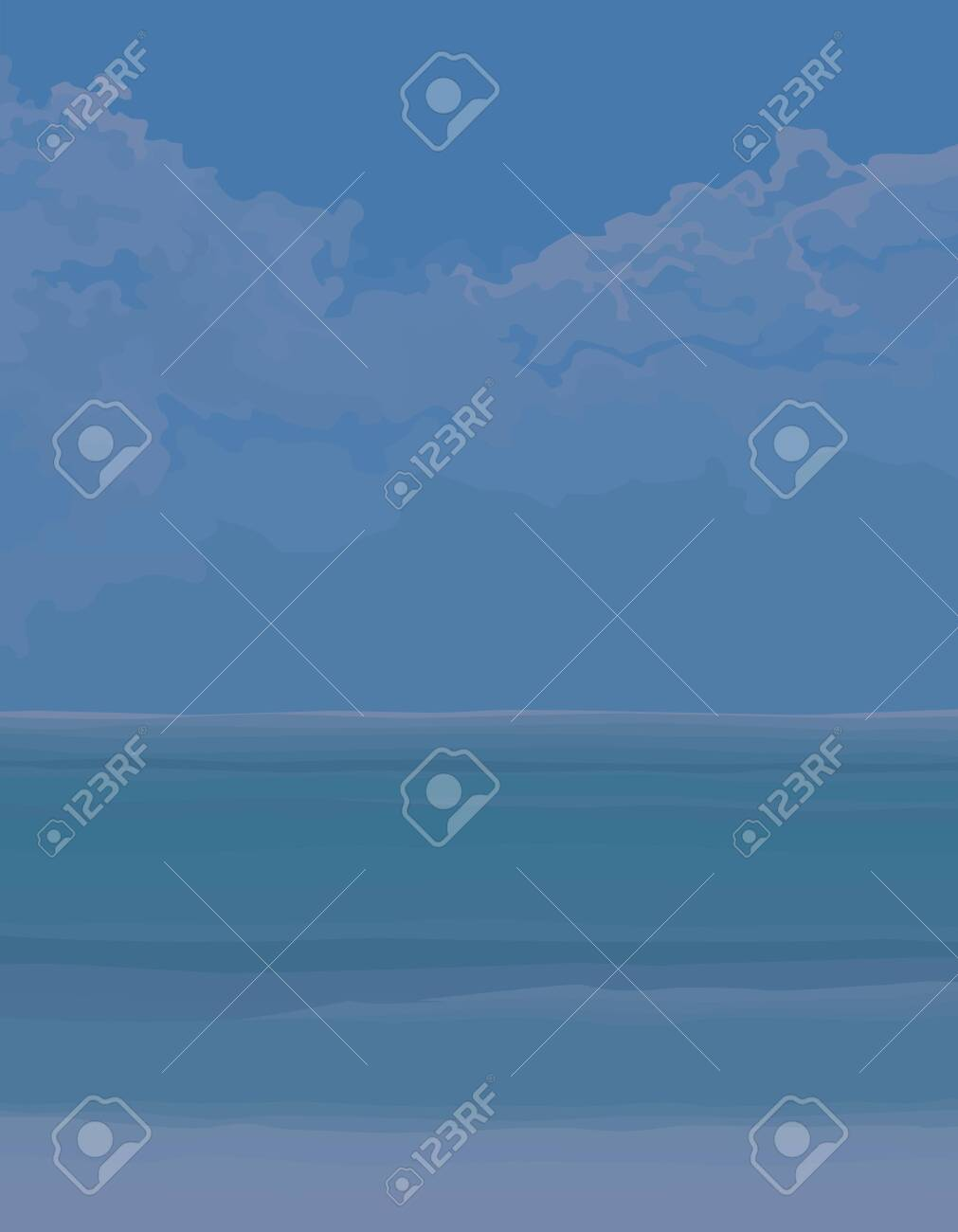 Turquoise sea background with blue sky at dusk. Back view - 153693091