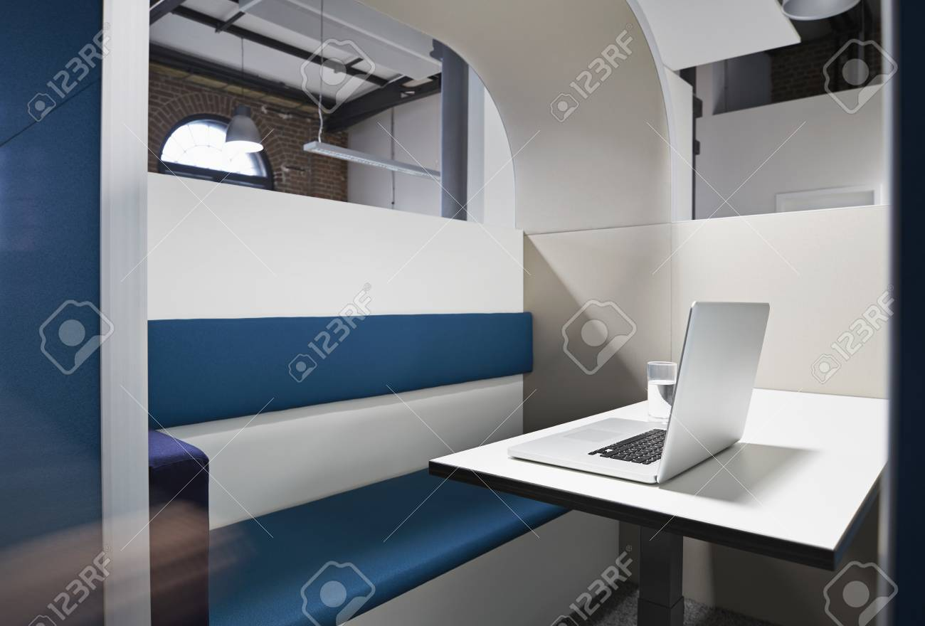 modern office cubicle. Modern Office Cubicle With Noise Protection Partition Wall Stock Photo - 86823561
