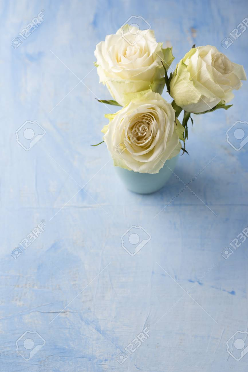 Three White Roses In A Flower Vase On Light Blue Ground Stock Photo