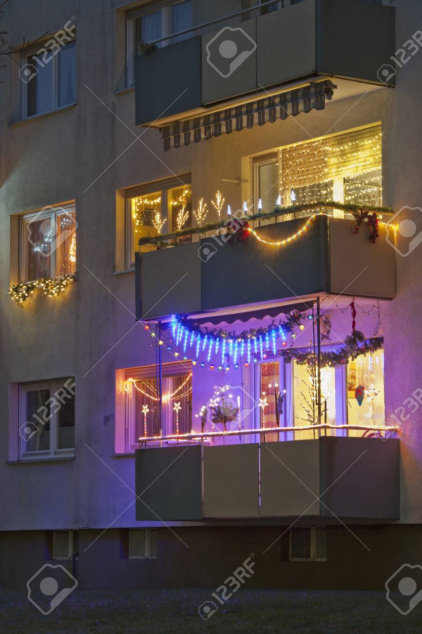 Germany Stuttgart Apartment Balcony Decorated With Christmas Stock