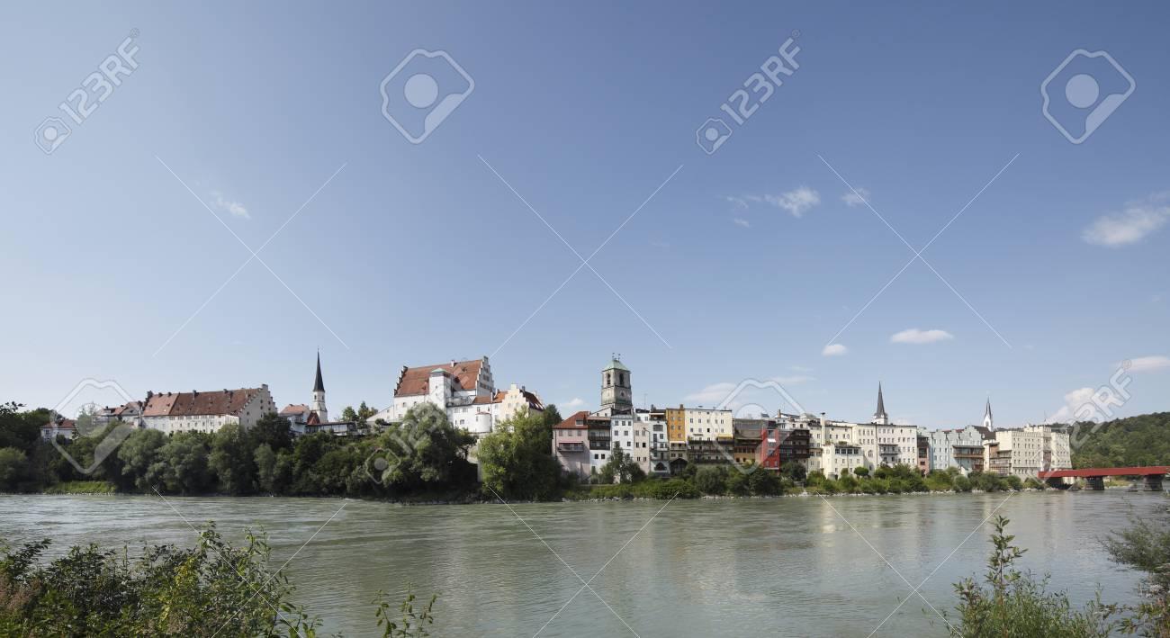 Wasserburg Am Inn Germania germania, baviera, alta baviera, wasserburg am inn, vista della città con  il fiume inn