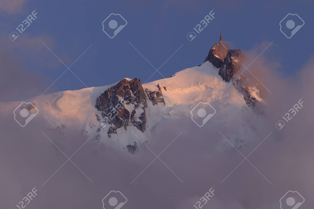 France,View Of Aiguille Du Midi At Sunset