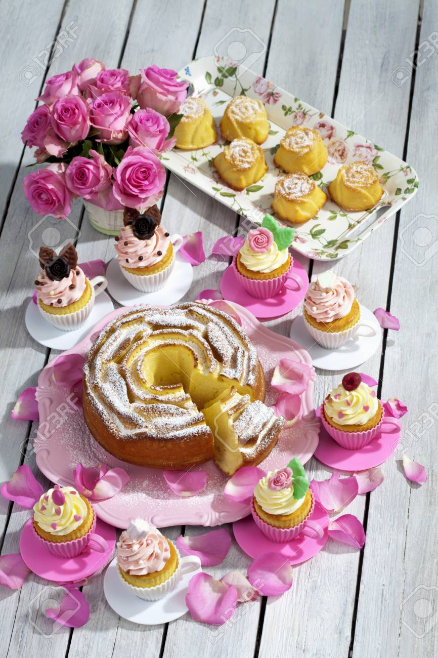 Birthday Cake Cupcakes Muffins And Flower Vase Of Pink Roses