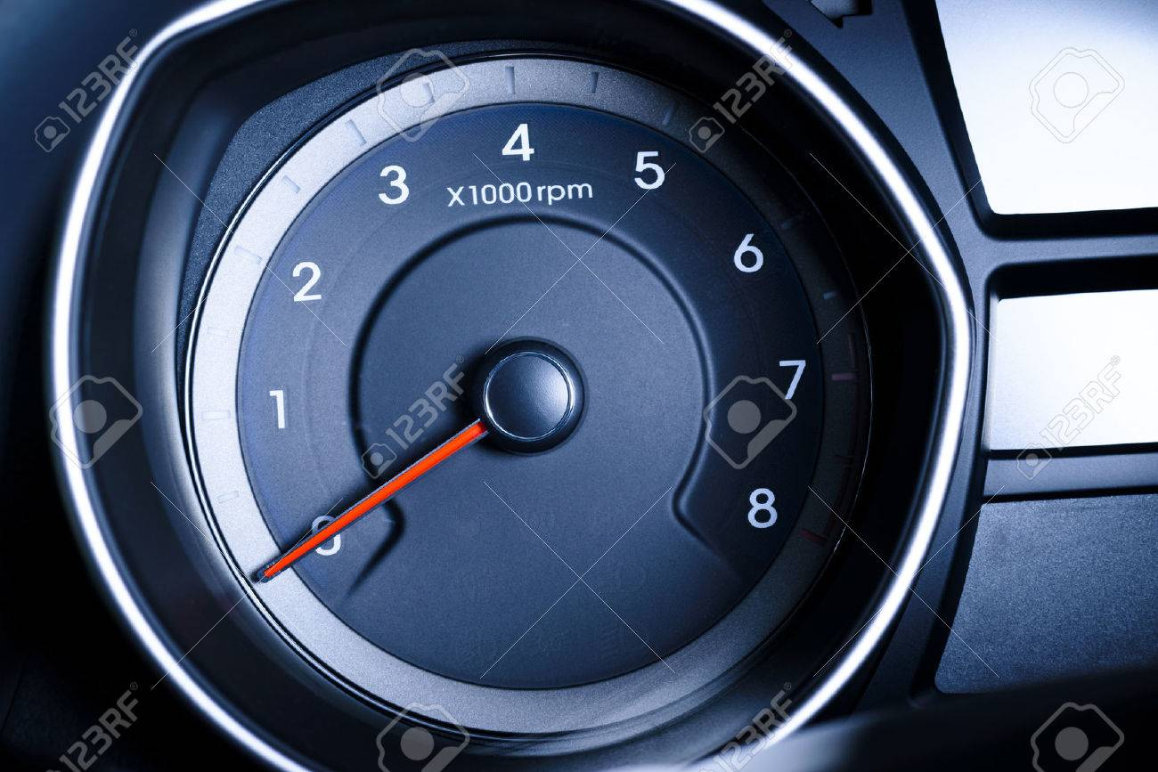 Photo presents car s, vehicle s speedometer or tachometer with