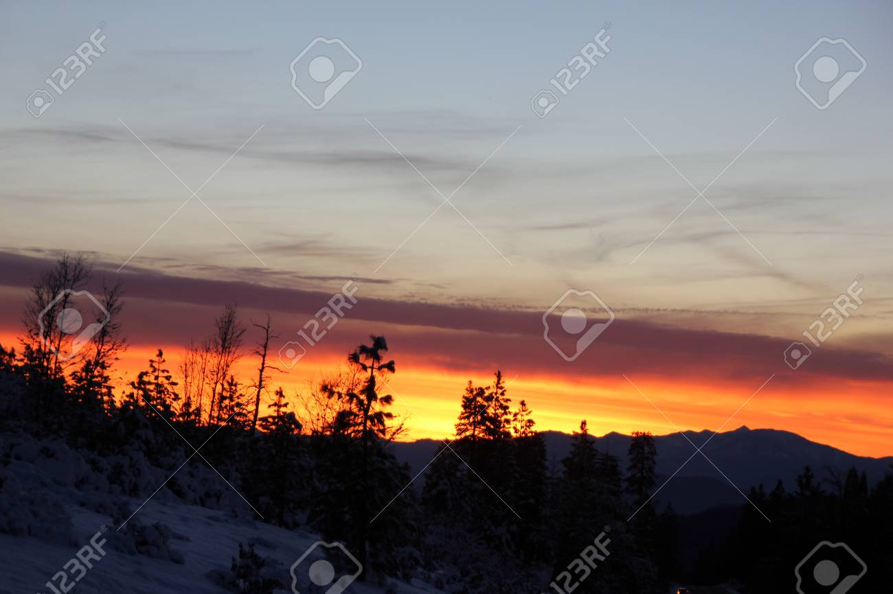 Sunset View From Shasta Road On Christmas Day Snow Covered Slopes