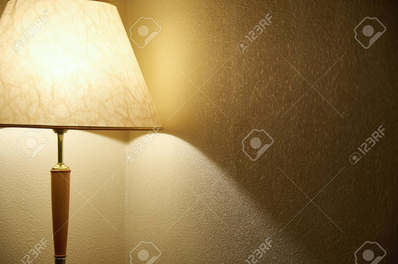 Floor Lamp With Soft Light In The Corner Of The Room Stock Photo