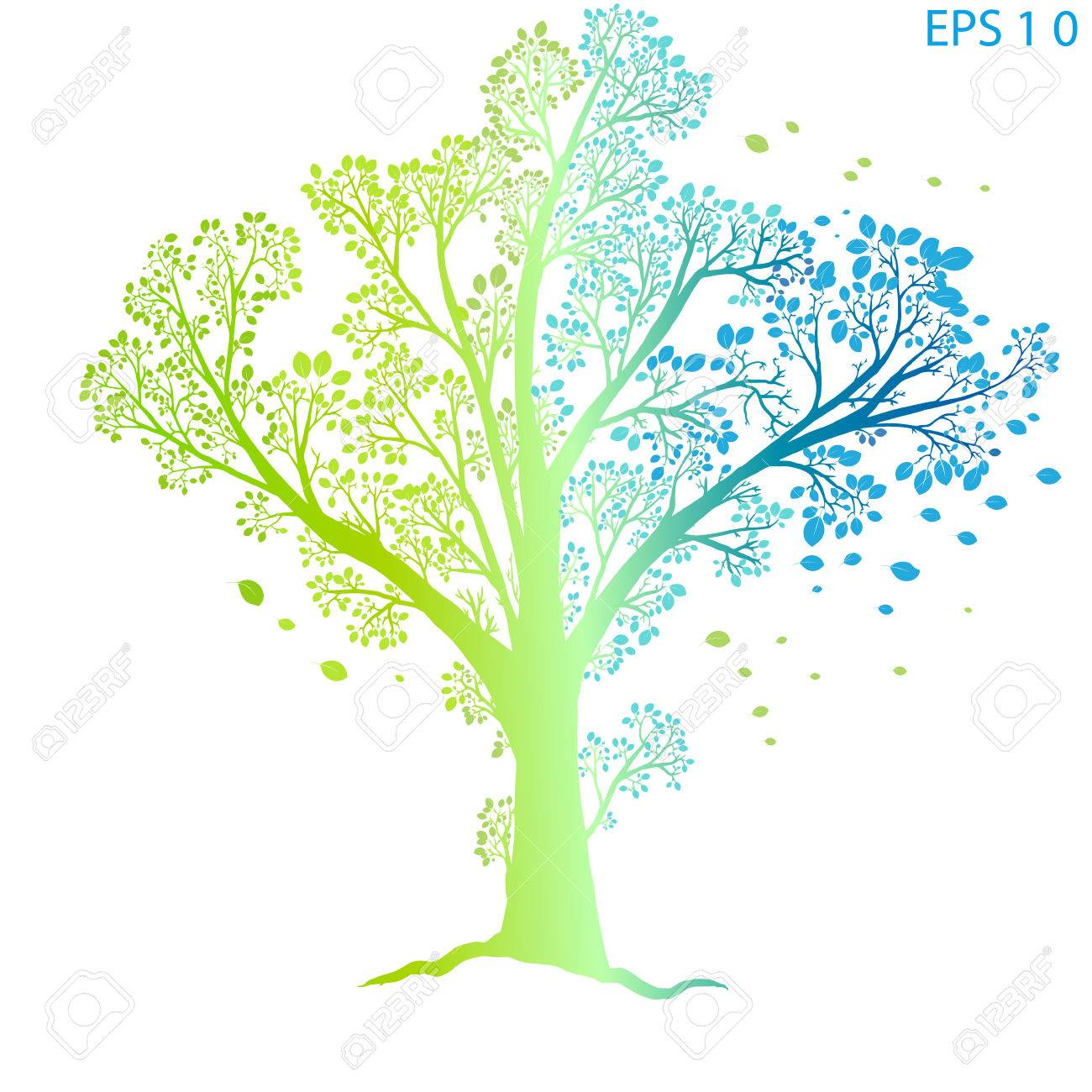 Colorful Tree Of Life, On A White Background Isolated Royalty Free ...