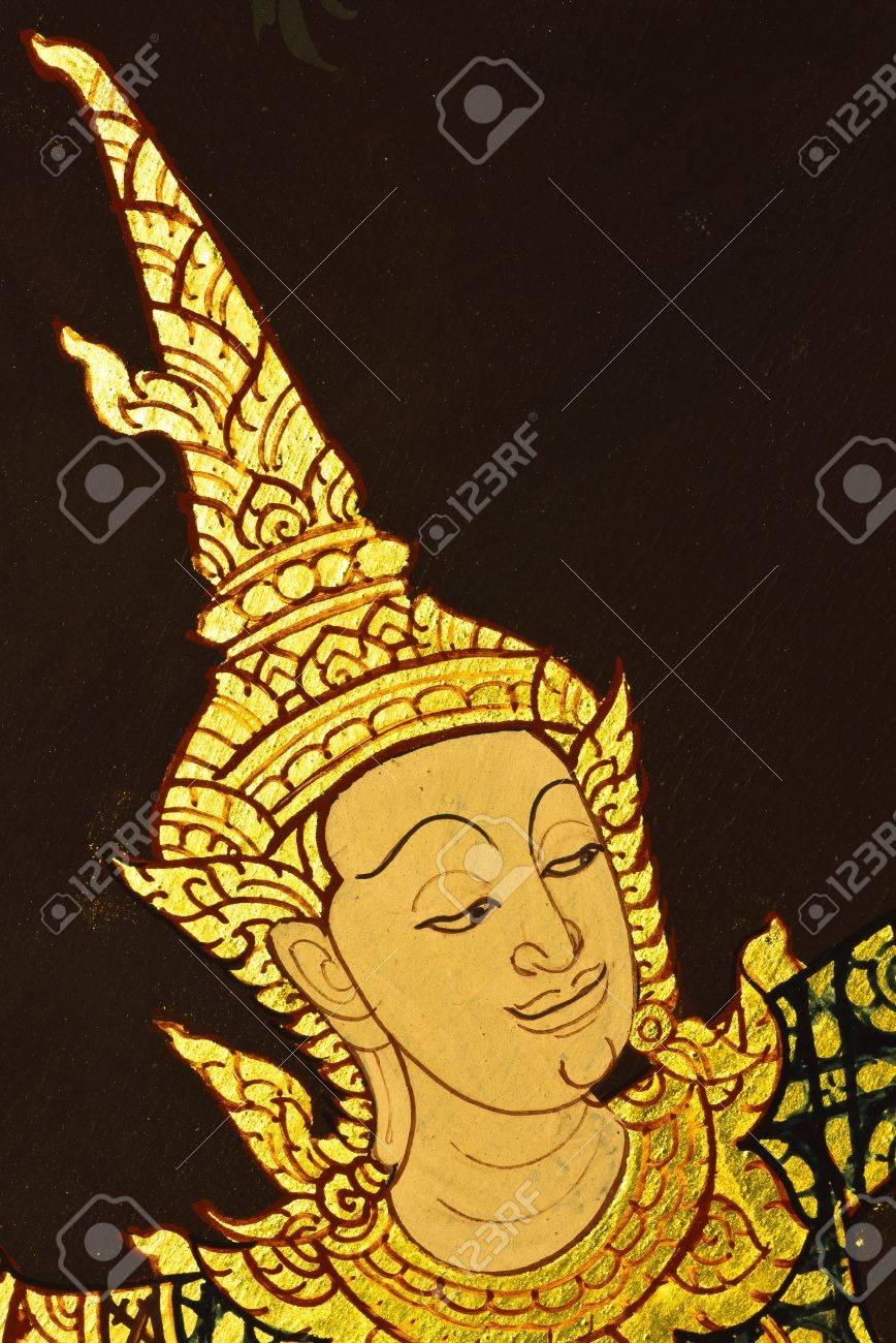 Art Thai Painting On Wall In Temple, Generality In Thailand,.. Stock ...