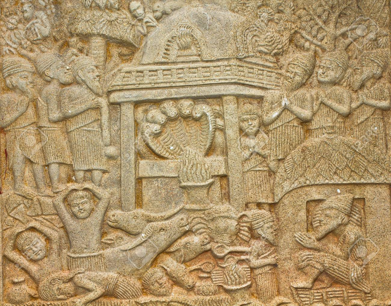 Native Art Carved On The Wall In The Temple, Generality In Thailand ...