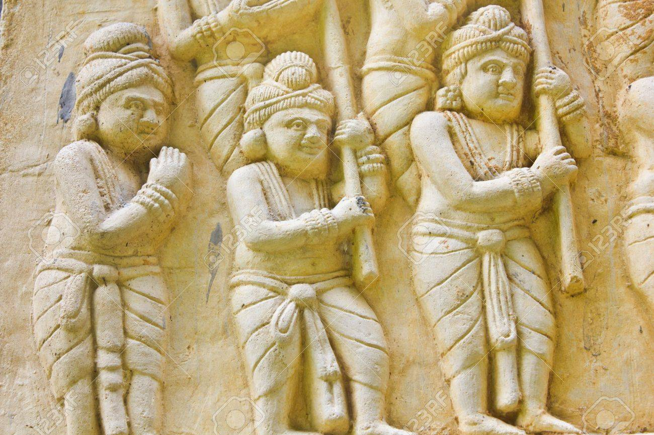 Native Molding Art On Wall In Temple, Generality In Thailand ...