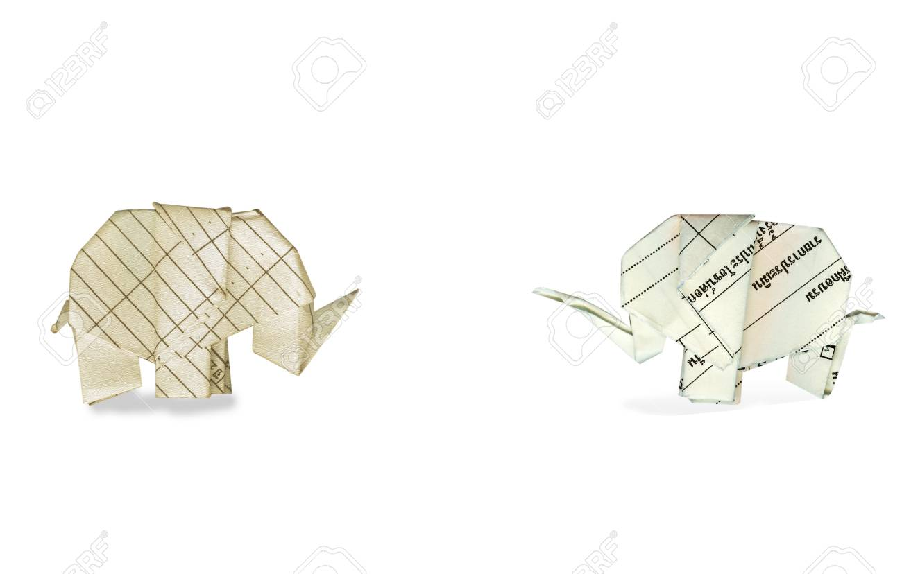 Origami Elephant Recycle Paper Stock Photo Picture And Royalty Free