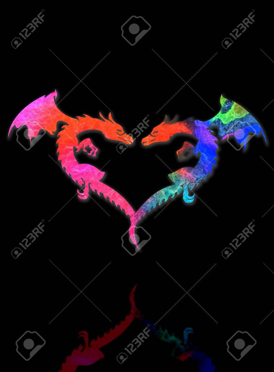 Dragon Heart and shadow isolated on black background Stock Photo - 17907907
