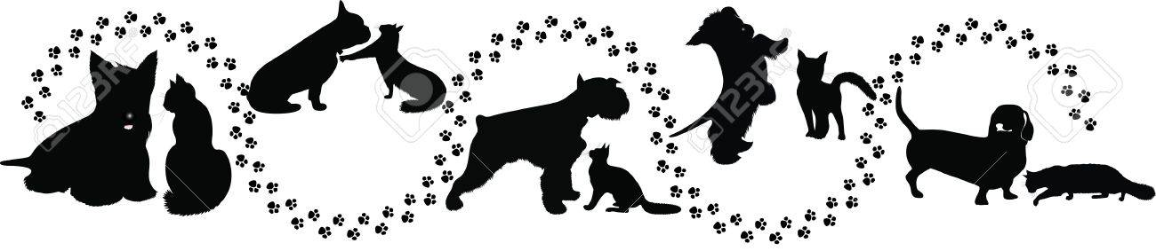 animals cats and dogs traces of the Stock Vector - 14652432
