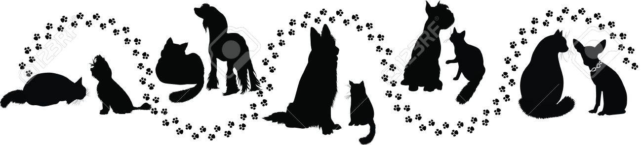 animals cats and dogs traces of the Stock Vector - 14652452