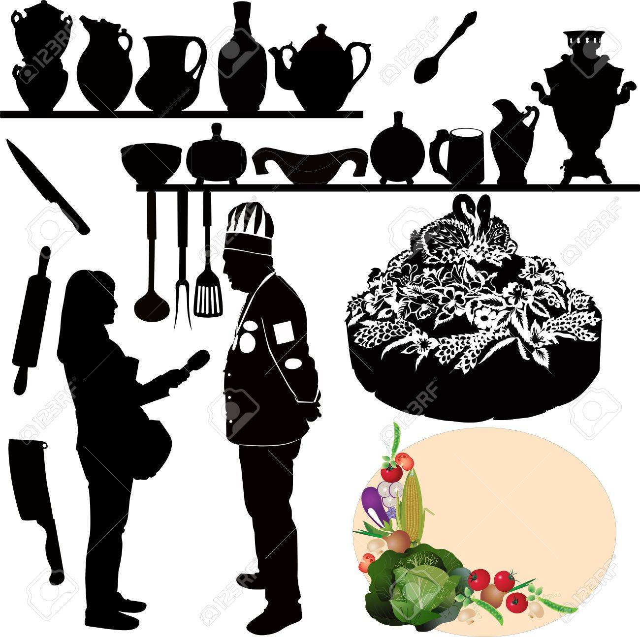 Kitchen Utensils Silhouette Vector Free chefs kitchen utensil cake royalty free cliparts, vectors, and