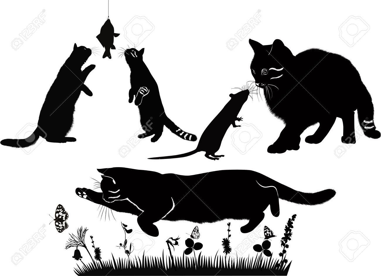 cats are and mouse, fish, butterflies compositions animals isolated on a white background Stock Vector - 19478126