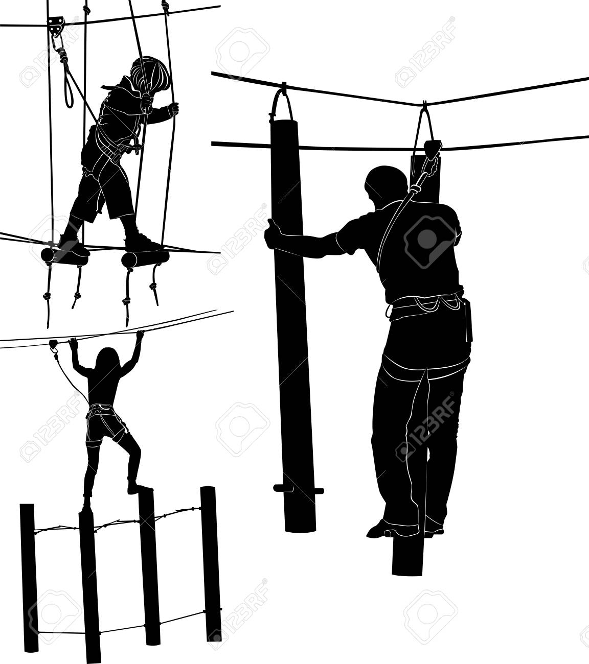 set of silhouettes in a rope park - 115346766