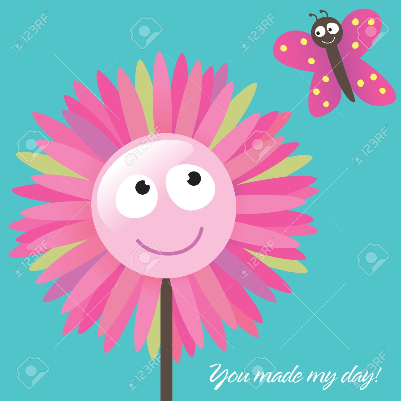 Thank You Card Template (You Made My Day!) Royalty Free Cliparts