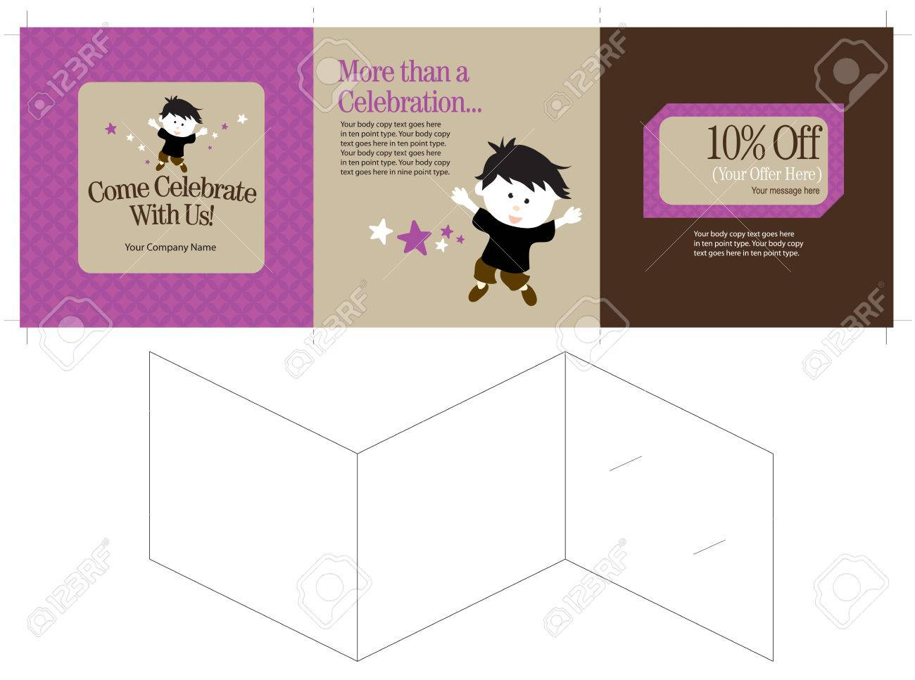 15x5 three panel brochure template folds to 5x5 includes crops