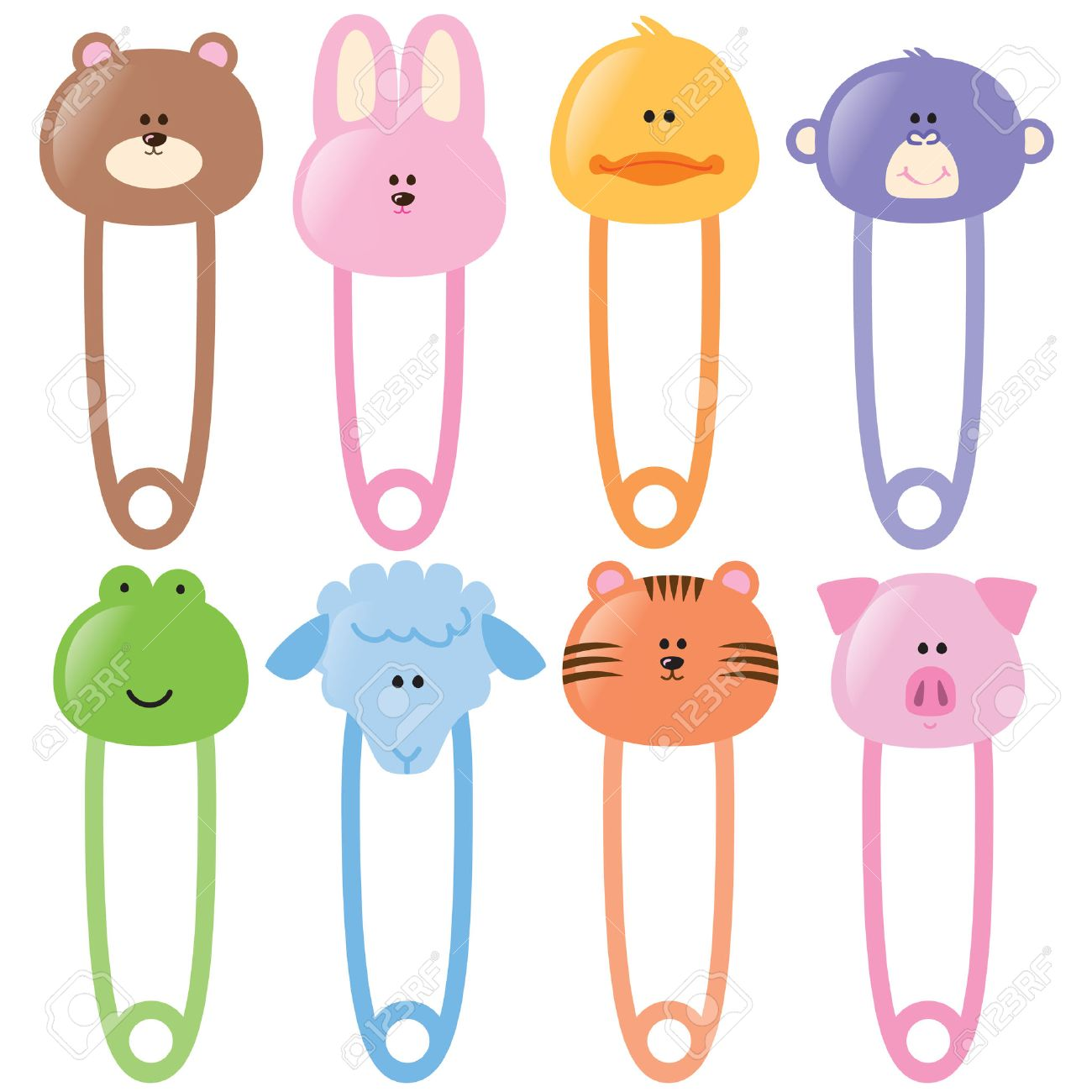 Baby Animal Safety Pins Set 1 - 4658371