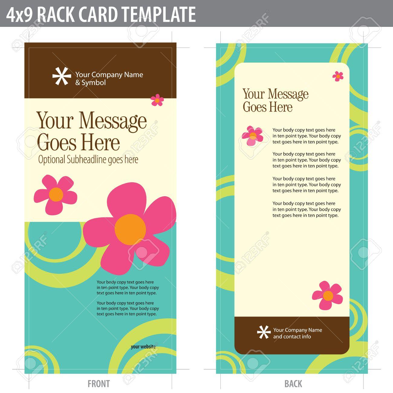 X Rack Card Brochure Template Includes Cropmarks Bleeds - 4x9 rack card template