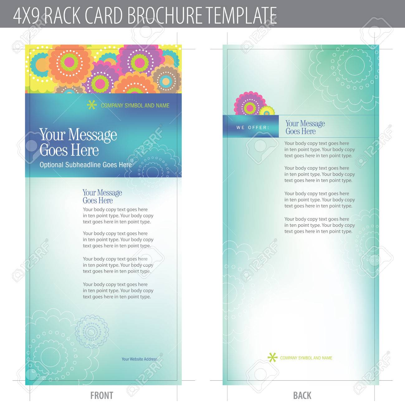 4x9 Rack Card Brochure Template (includes cropmarks, bleeds, and keyline - elements in layers) More in portfolio Stock Vector - 4775958