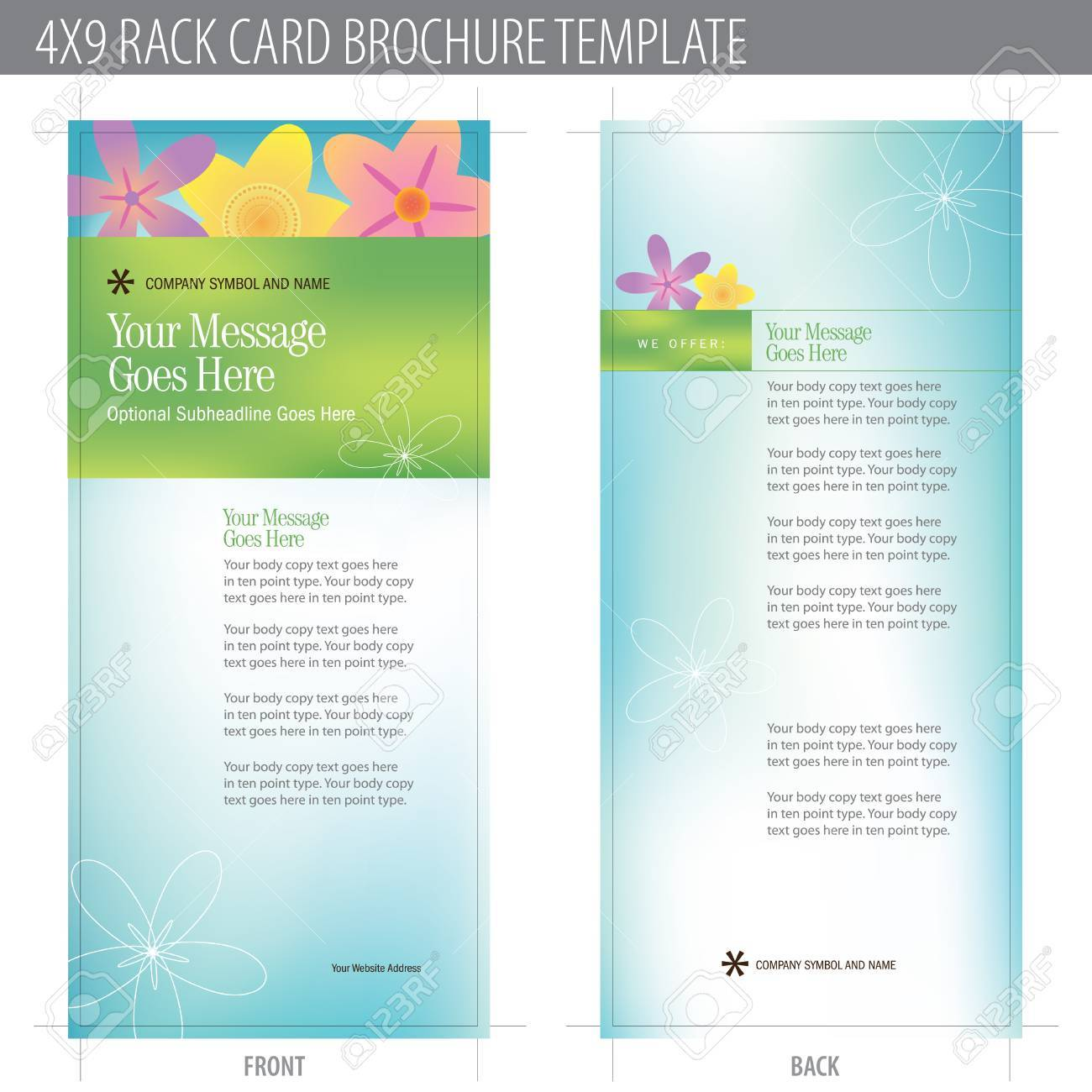 4x9 Rack Card Brochure Template (includes cropmarks, bleeds, and keyline - elements in layers) More in portfolio Stock Vector - 4775939