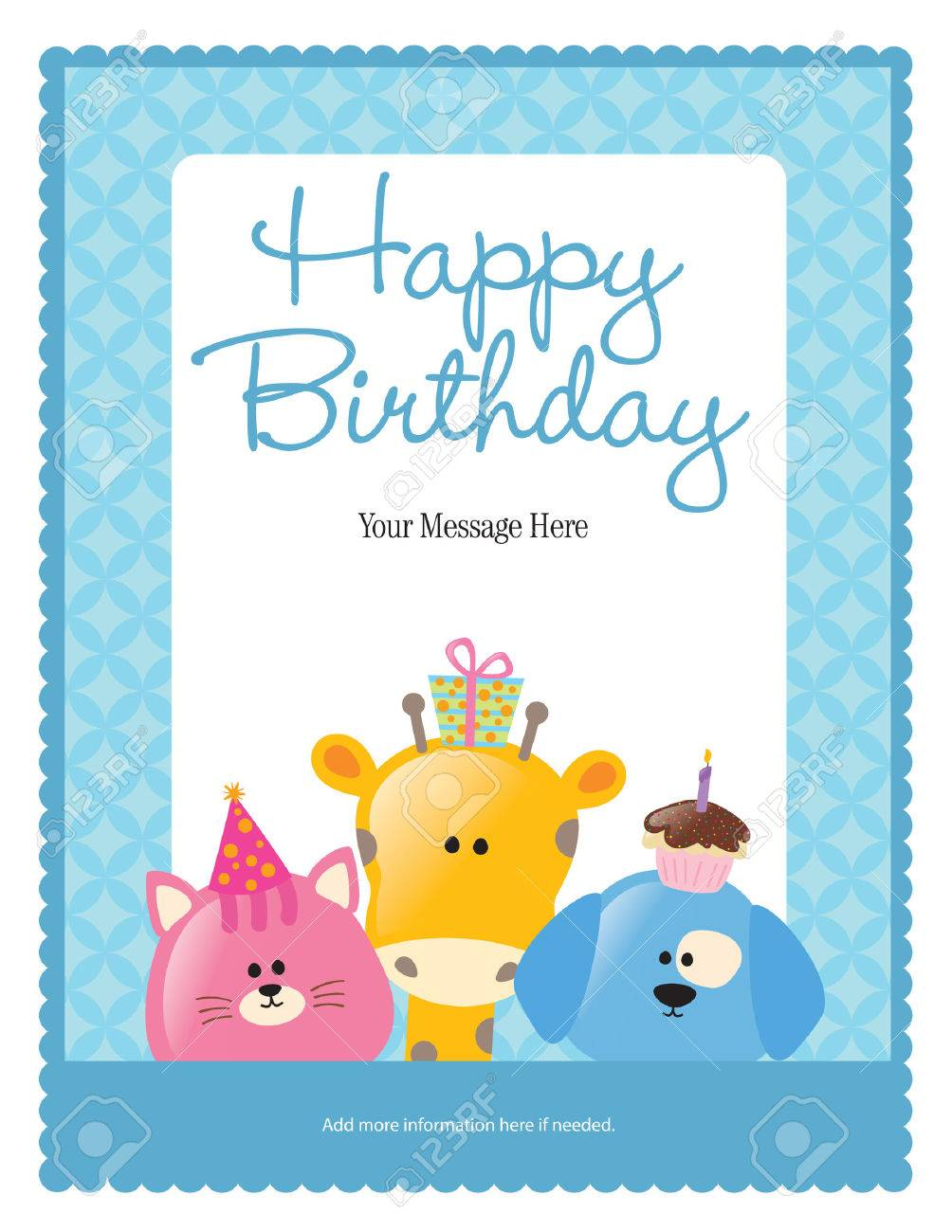 First Birthday Card With Animals more In Portfolio Royalty Free – Free 1st Birthday Cards