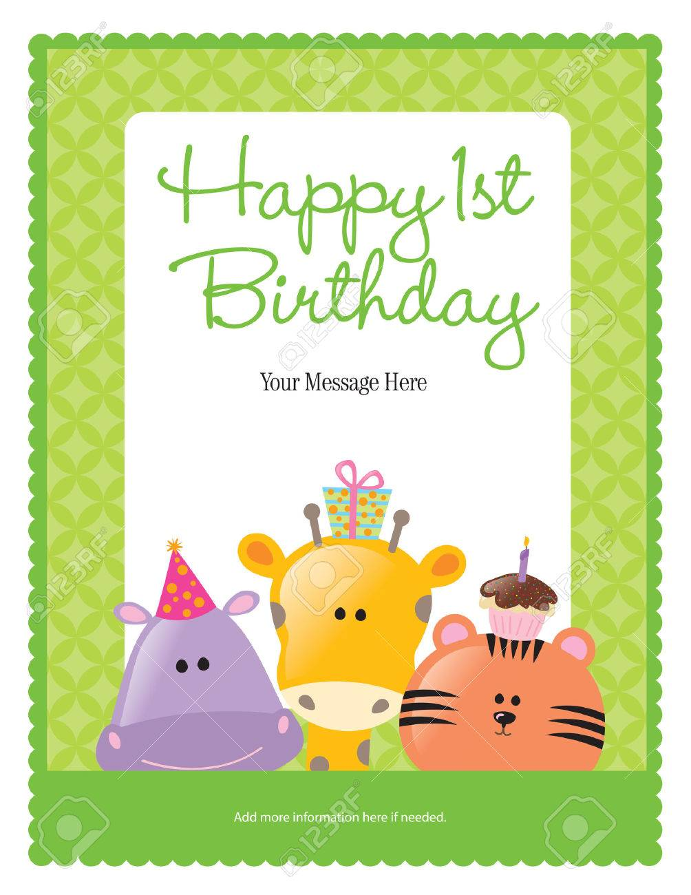 First Birthday Card With Animals more In Portfolio Royalty Free – First Birthday Card Messages