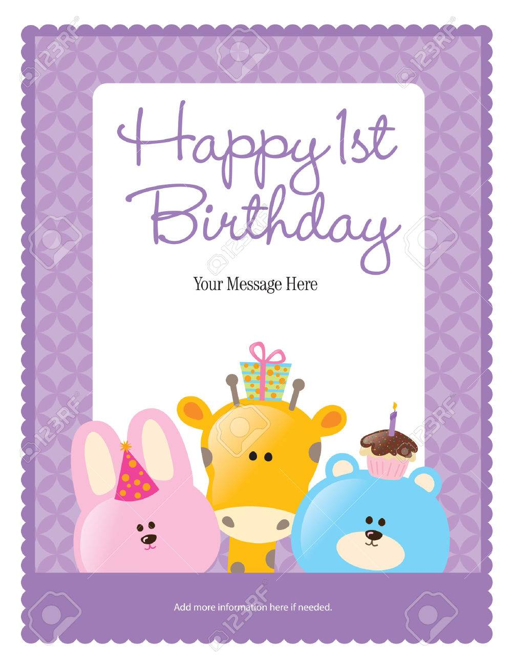 Happy 1st Birthday Card more In Portfolio Royalty Free Cliparts – 1st Birthday Greetings