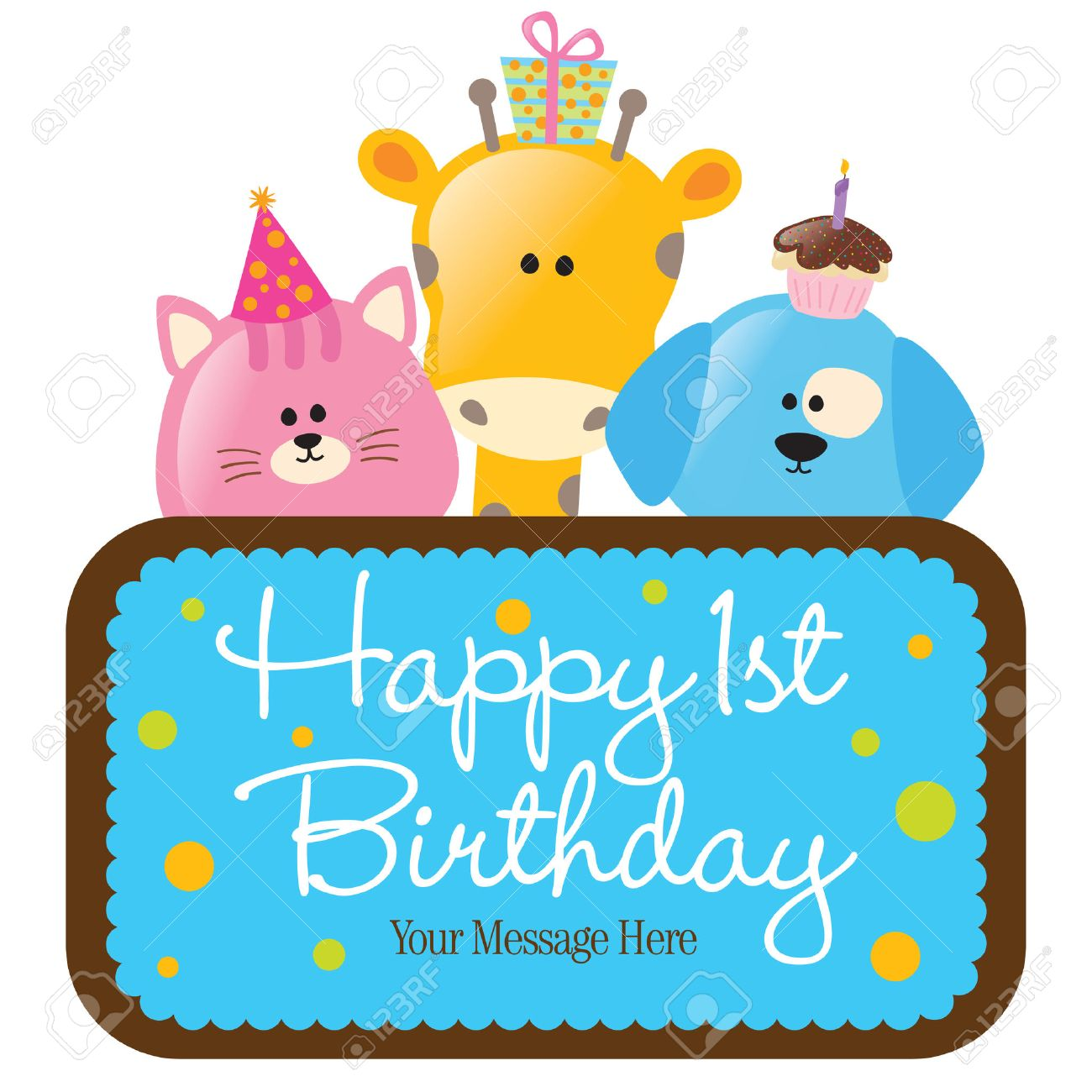 Isolated Happy 1st Birthday Sign Royalty Free Cliparts, Vectors