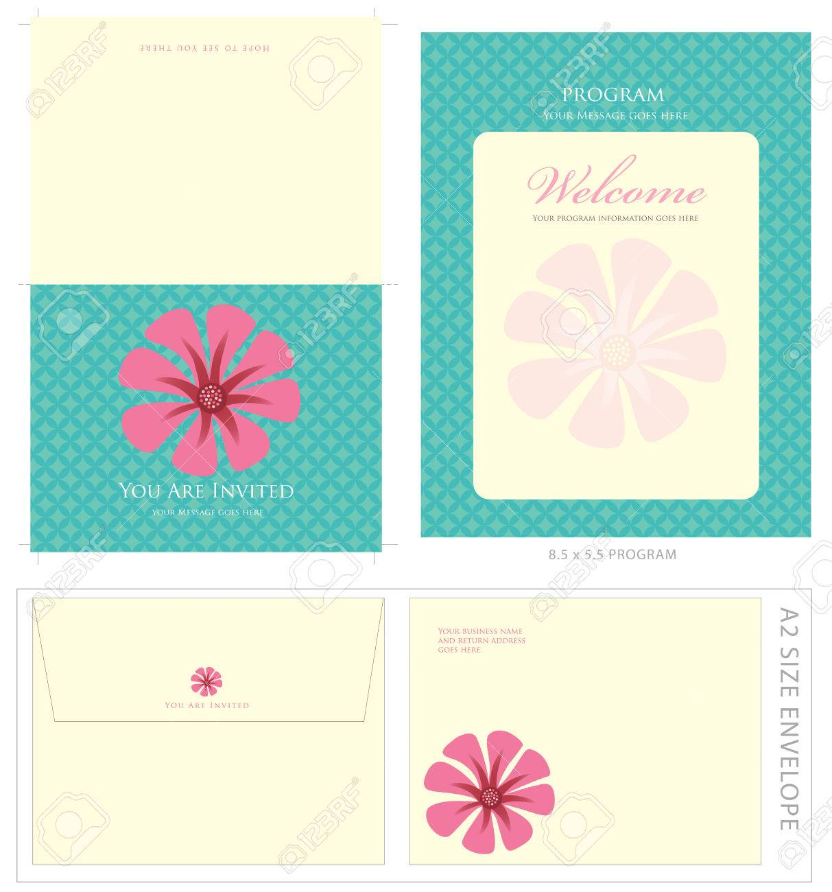 Special Event Templates (includes A2 invite with cropmarks & bleeds, A2 envelope setup and 8.5x5.5 program) Stock Vector - 4775975