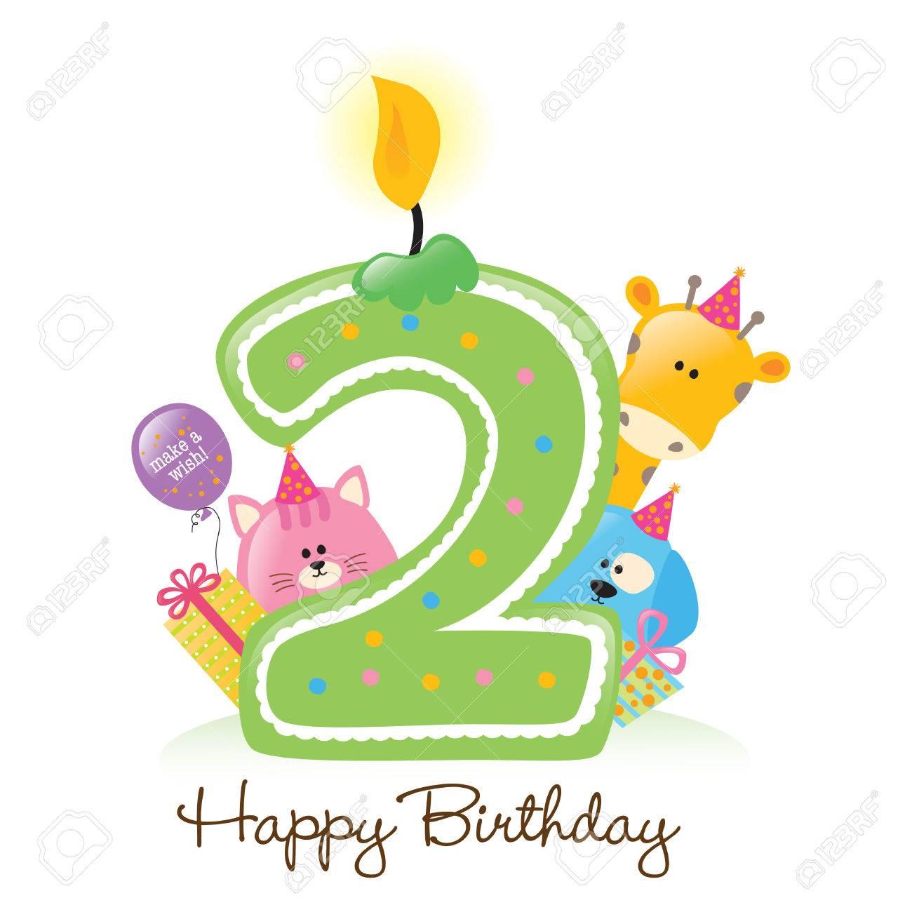 Happy Birthday Candle Und Tiere Isolierten Auf Weiss Standard Bild