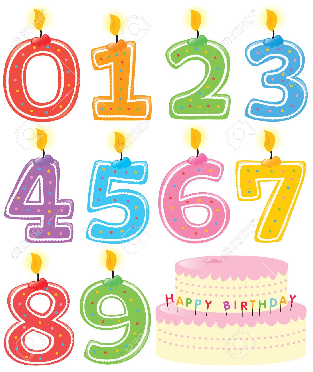 Numbered Birthday Candles and Cake Stock Vector - 5529019