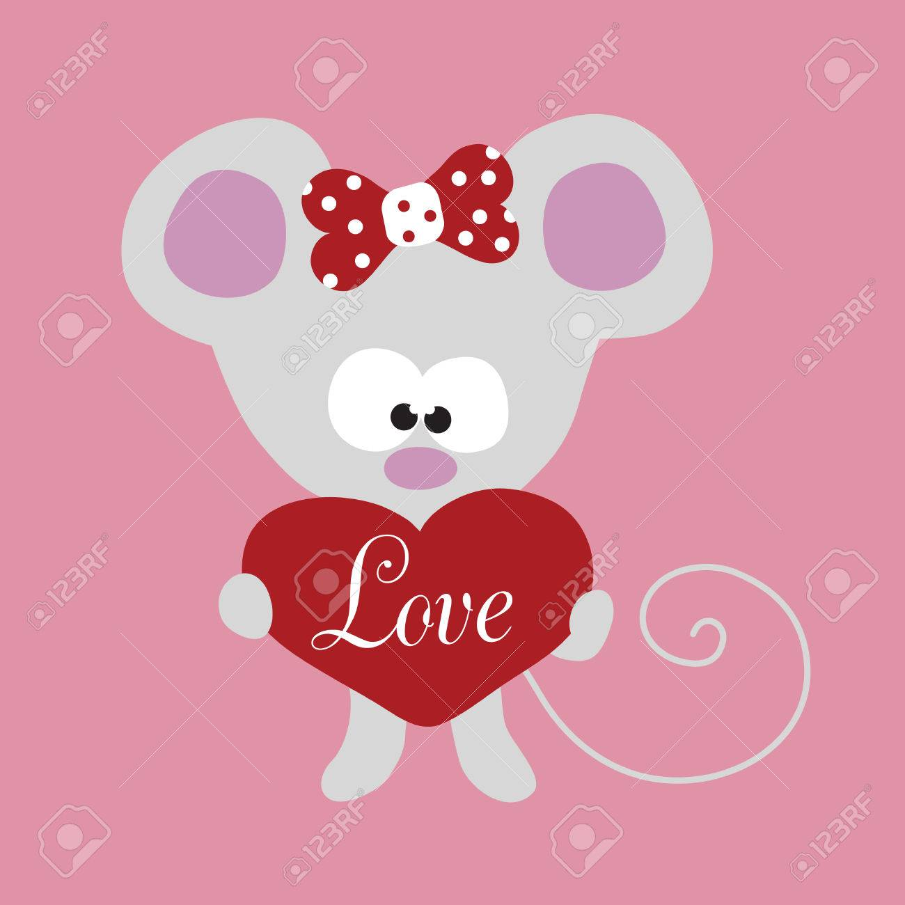 Valentine Little Mouse with Big Heart Stock Vector - 5528874